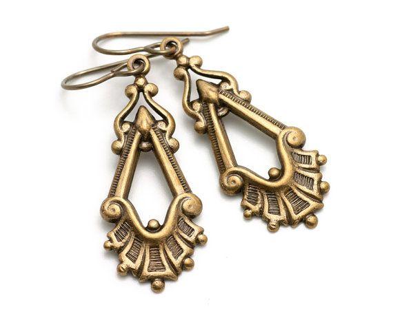 Antiqued Victorian Drops  Metal Earrings  by BijouxLaudine on Etsy