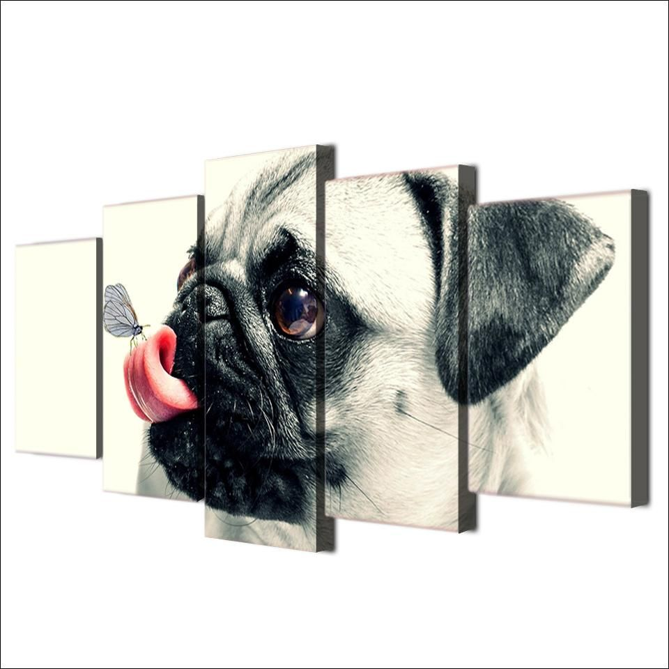 HD Printed 5 Piece Canvas Art Cute Pet Dog Painting Pugs Wall