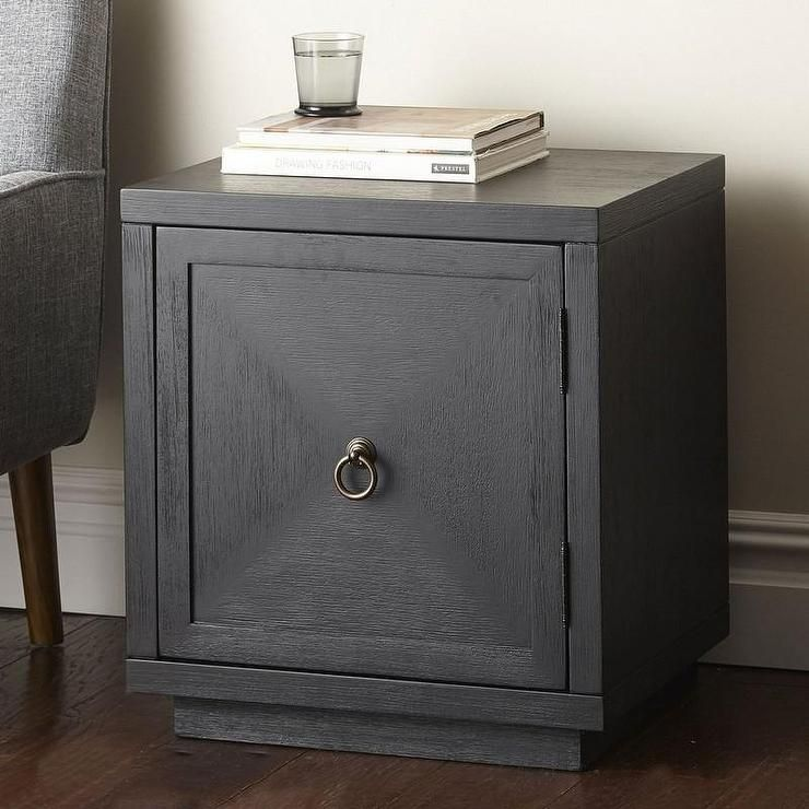 Black One Door Br Ring Pull Side Table