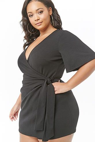 Plus Size Plunging Surplice Romper in 2019 | Products | Plunging ...