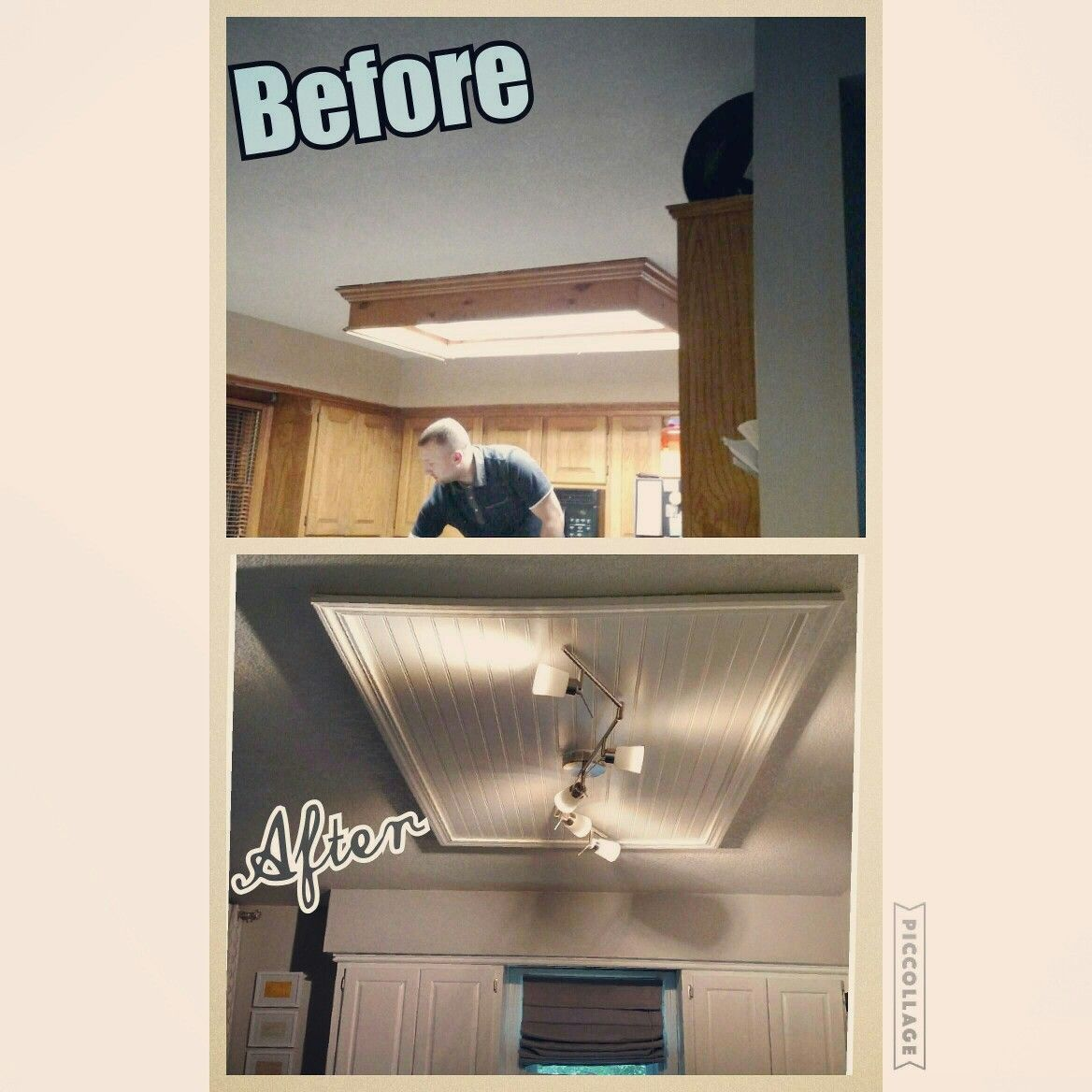 Removing An Ugly Ceiling Box Fluorescent Light Kitchen