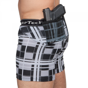 Men's Plaid Concealed Carry Holster Shorts by UnderTech. You can mix and match UnderTech products of different styles, colors and sizes. The Men's Plaid Concealed Carry Compression Holster Shorts by UnderTech are designed with improved function for greater retention and more comfort to fit you like a second skin.