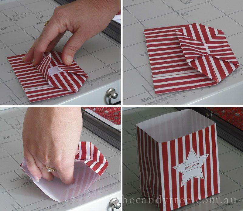 Create Mini Popcorn Boxes Tutorial Popcorn Box Popcorn Box Diy