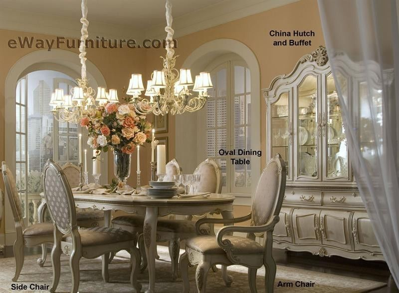 White Formal Dining Room Set Oval Wood Table 6 Chairs Michael Amini