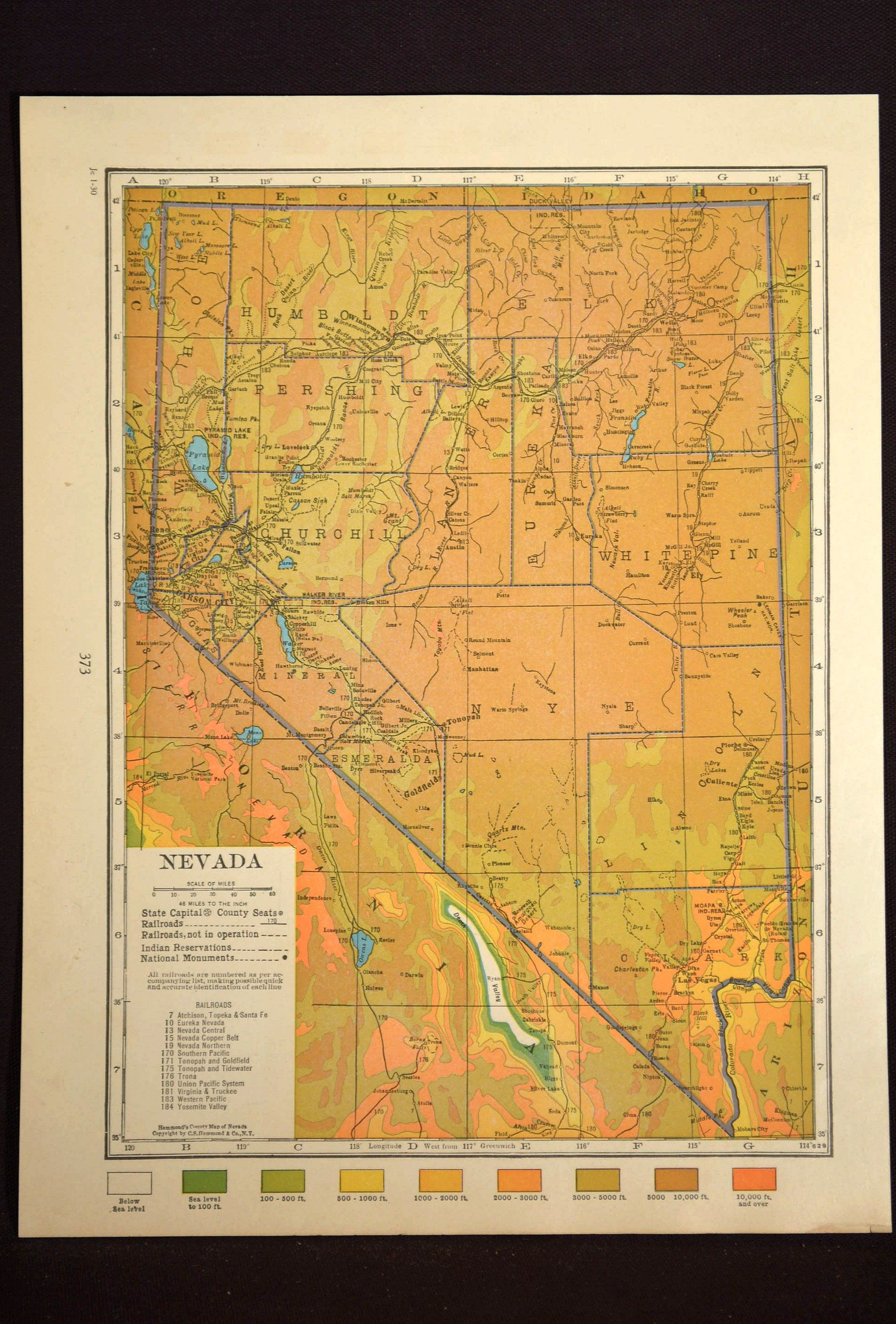 Nevada Map Nevada Topographic Map Colorful Colored Topo | Map Wall ...