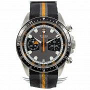 Tudor Heritage Chronograph Grey Black Dial Black Orange NATO Woven Strap Stainless Steel Case Automatic Watch 70330N #OCWatchCompany #WatchStore #WalnutCreek