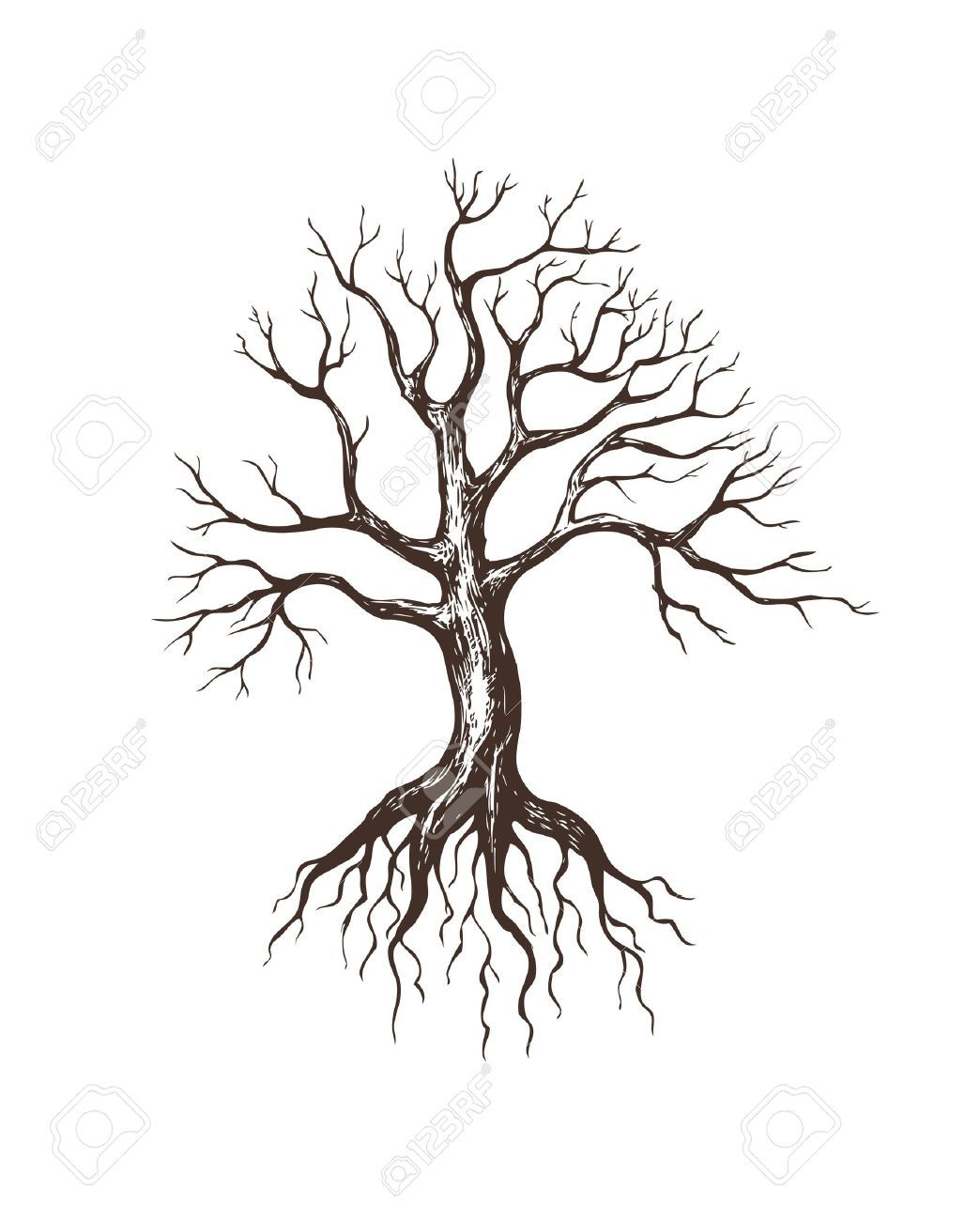 Illustration Of Big Leafless Tree Tatuajes De Arbol Genealogico Tatuaje De Raices De Arboles Produccion Artistica
