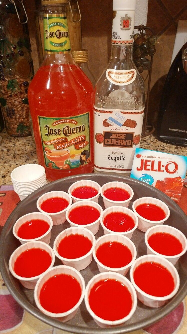 Strawberry-lime Margarita shots: 1 small box of strawberry jello follow directions on box but instead of adding cold water add 1/2 cup of tequila and 1/2 cup of strawberry-lime jose cuervo margarita mix makes 14 shots #limemargarita Strawberry-lime Margarita shots: 1 small box of strawberry jello follow directions on box but instead of adding cold water add 1/2 cup of tequila and 1/2 cup of strawberry-lime jose cuervo margarita mix makes 14 shots #jelloshotsvodka Strawberry-lime Margarita shots: #limemargarita