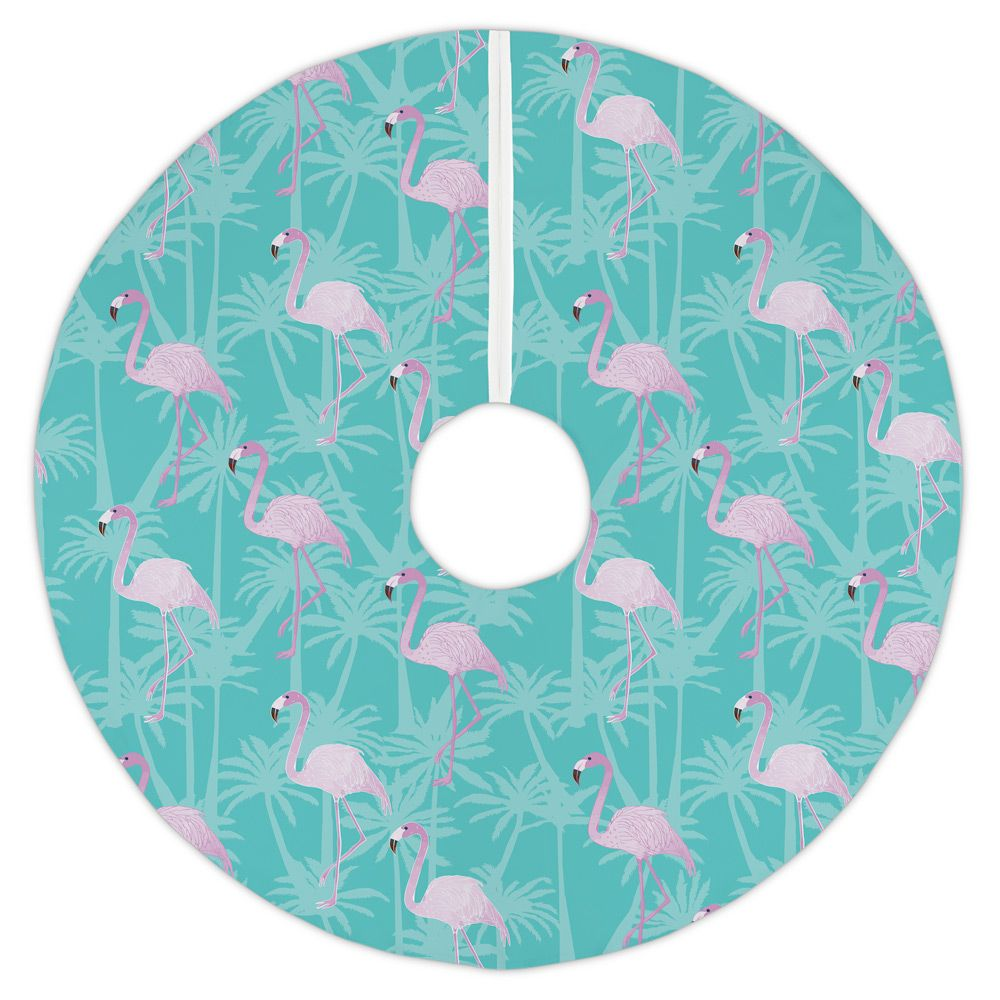 Aqua Christmas Tree Skirt: Pink Flamingos On Aqua Christmas Tree Skirt