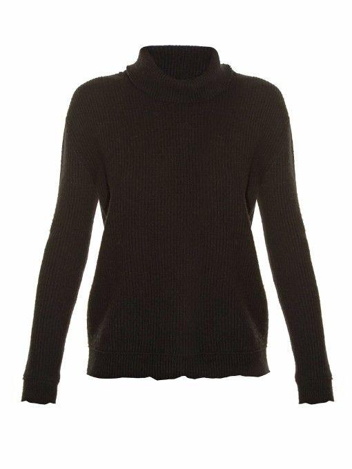 VALENTINO Raw-Edge Ribbed-Knit Sweater. #valentino #cloth #sweater