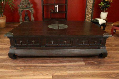 Couchtisch Holz Schubladen 151x101x40 Massiv Wohnzimmertisch Antik Kolonialstil
