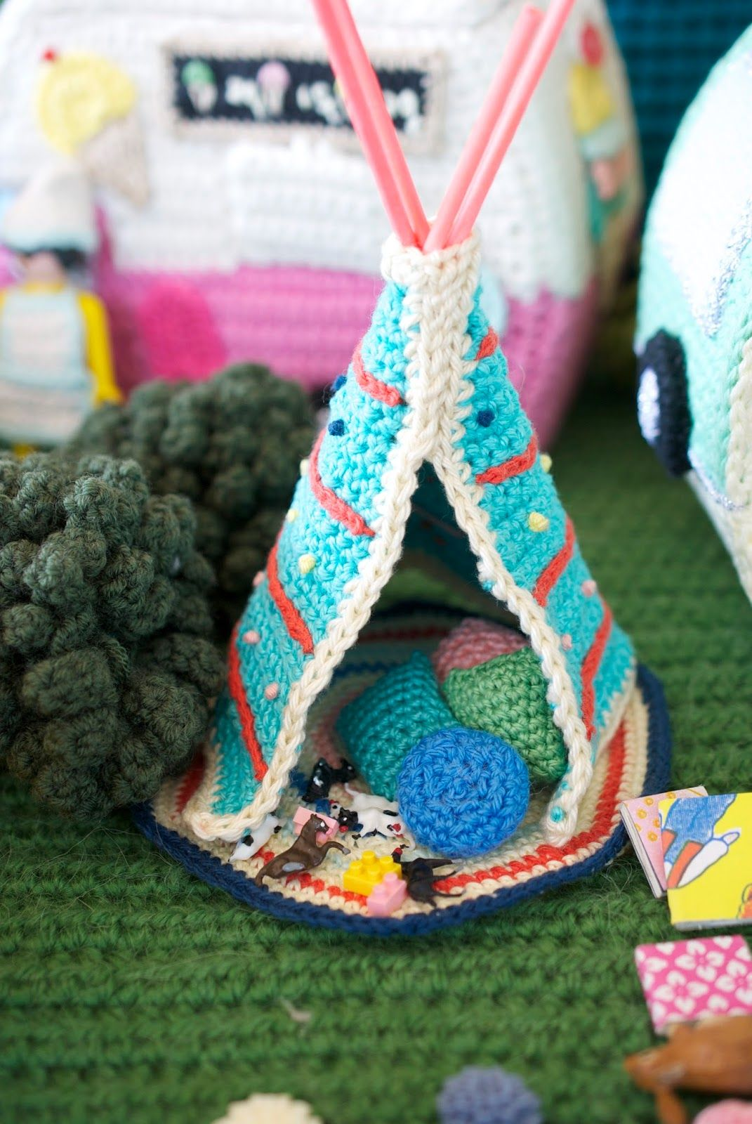 Here is a photo taken of the teepee for Let's Go Camping! Crochet Your Own  Adventure before everything was parcelled up and sent off t.