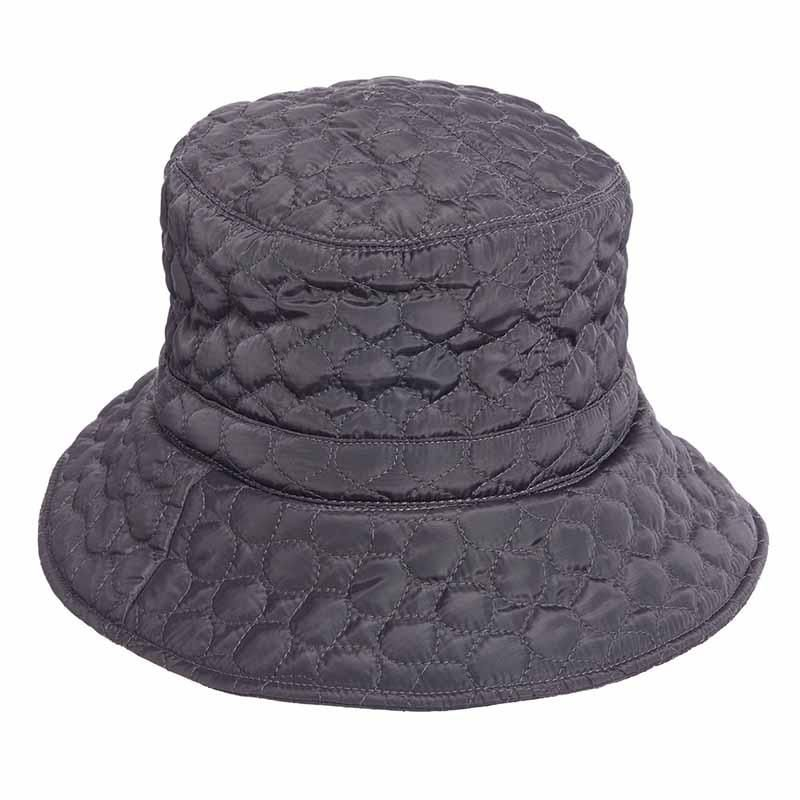 1628486de1f5a Classic bucket style rain quilted hat. Water repellent hat with warm fleece  lining. Adjustable fit toggle. Shapeable brim