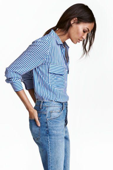 Camisa de viscosa - Azul Rayas blancas - MUJER  c0acb8799707