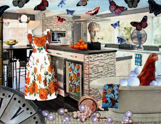 'time to take flight . . .' (2012) mixedmedia collage with sewn dress.  part of the 'home sweet home' series.