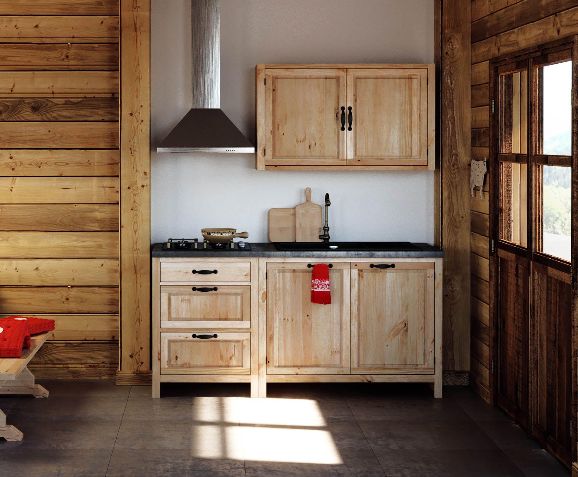 Retrouvez les meubles haut de cuisine en pin massif de notre