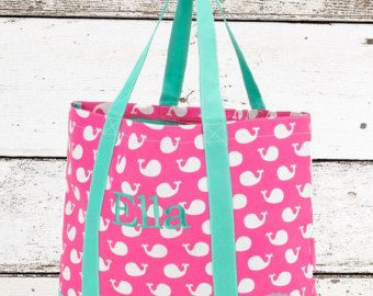 Whales Monogrammed Tote Bag Whale Beach Kids S Personalized