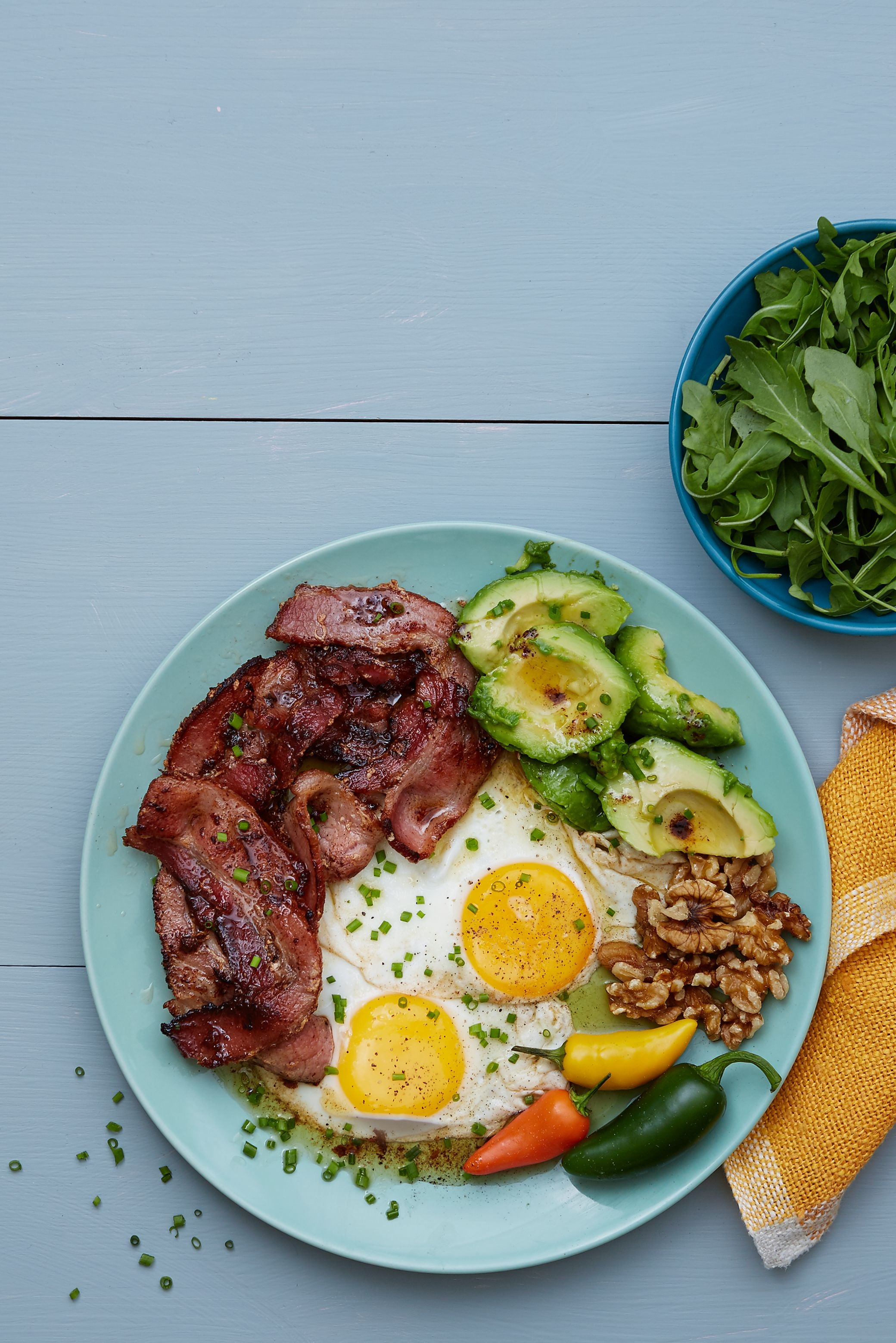 Keto bacon and eggs plate Recipe Banting recipes, Keto
