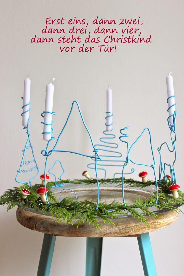 DIY - Adventskranz aus Draht (pfefferminzgruen) | Draht, Weihnachten ...