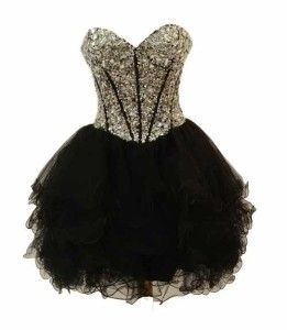 cute cheap short black puffy poofy prom formal homecoming
