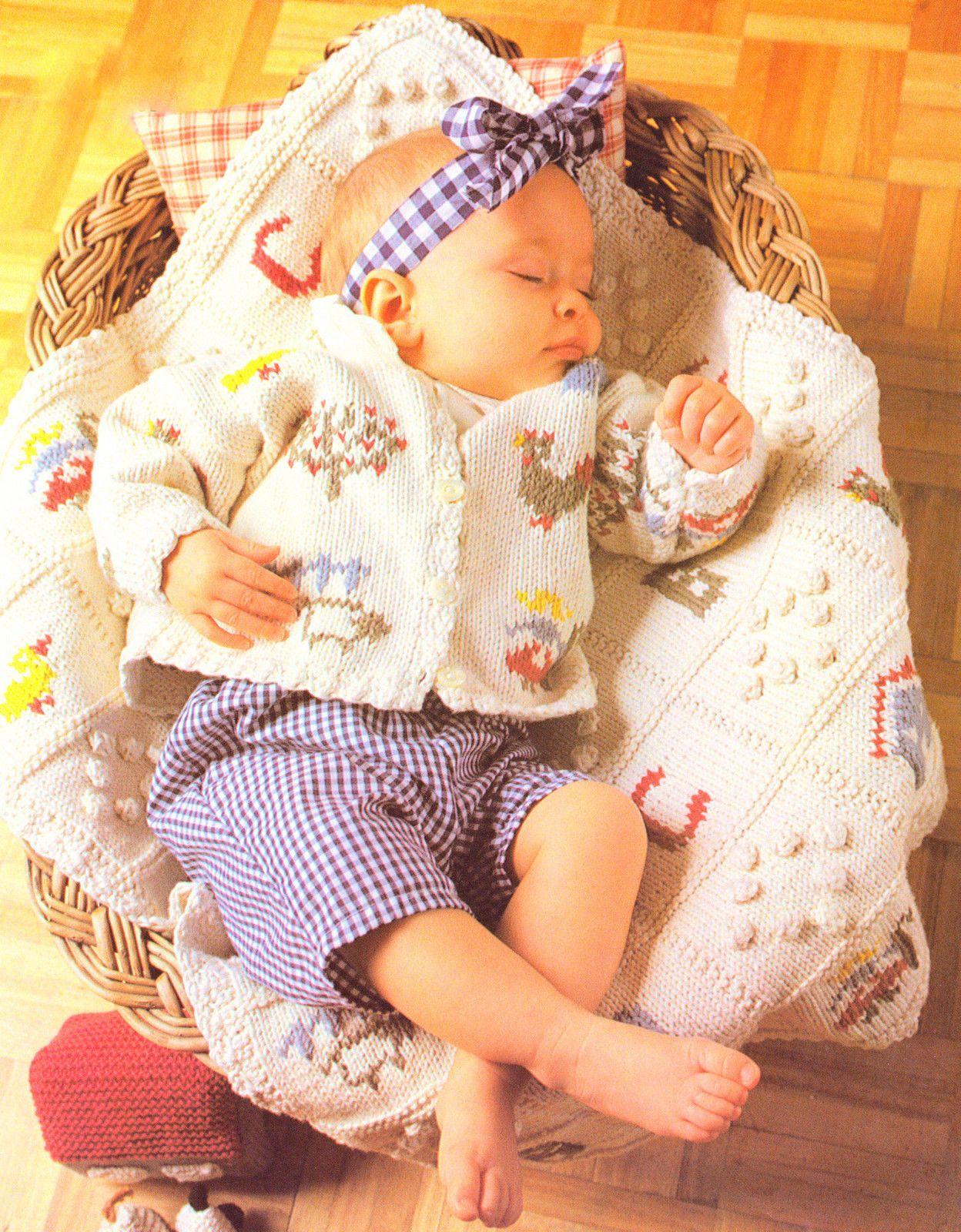 Baby Cardigan & Blanket/Pram Cover- Farm Alphabet - Knitting Pattern ...