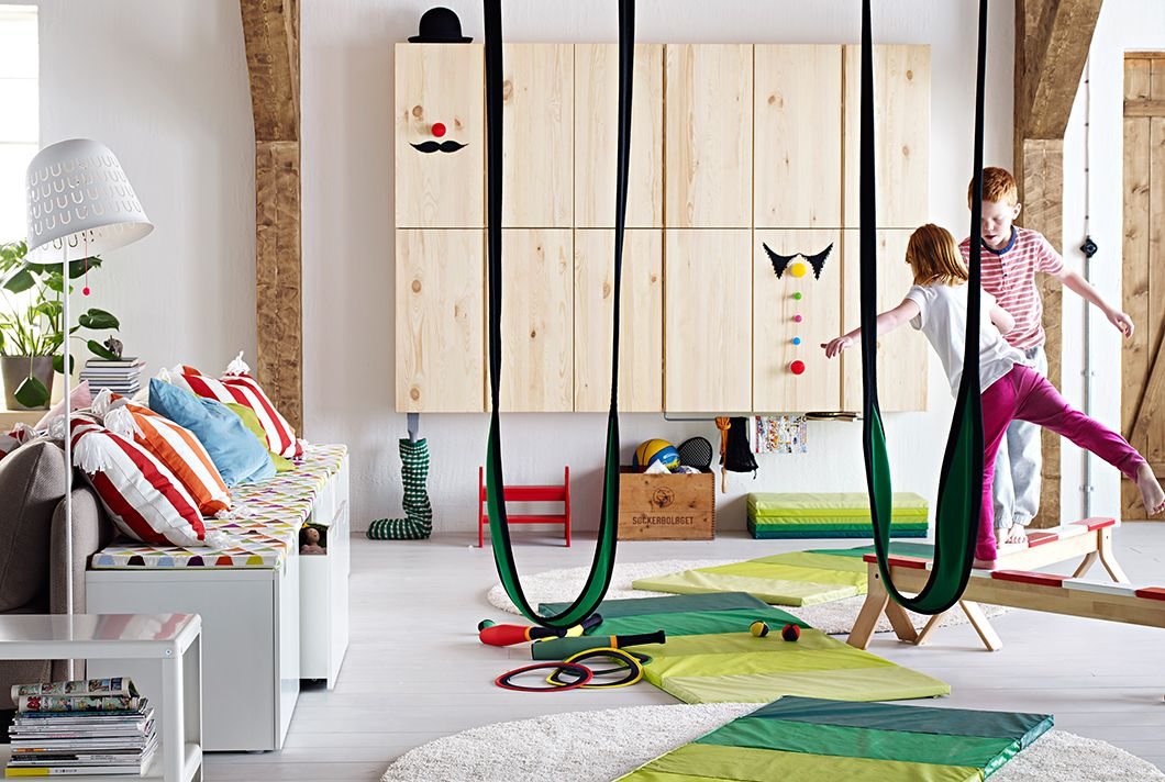 Playroom Ideas Ikea ikea - play area. exercise mat and stretchy swing. cabinets for