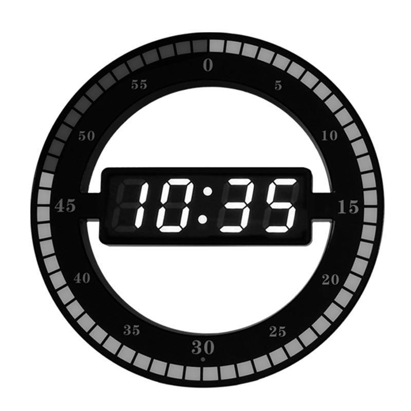 3d Led Digital Wall Clock Electronic Night Glow Round Wall Clocks Black Automatically Adjust Brightness Led Desktop Table Clock Wall Clock Modern Wall Clock Electronic Large Wall Clock