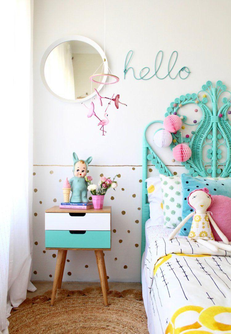 Flamant rose déco dans la chambre de fille pour une ambiance