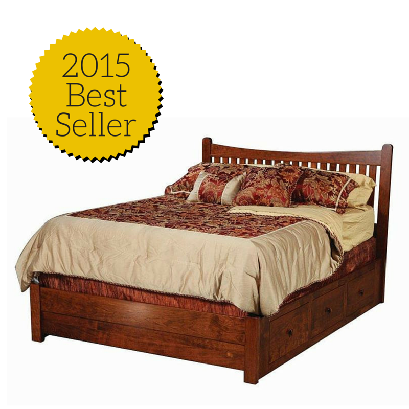 Amish Portland Bed With Low Footboard And Storage Rails Storage