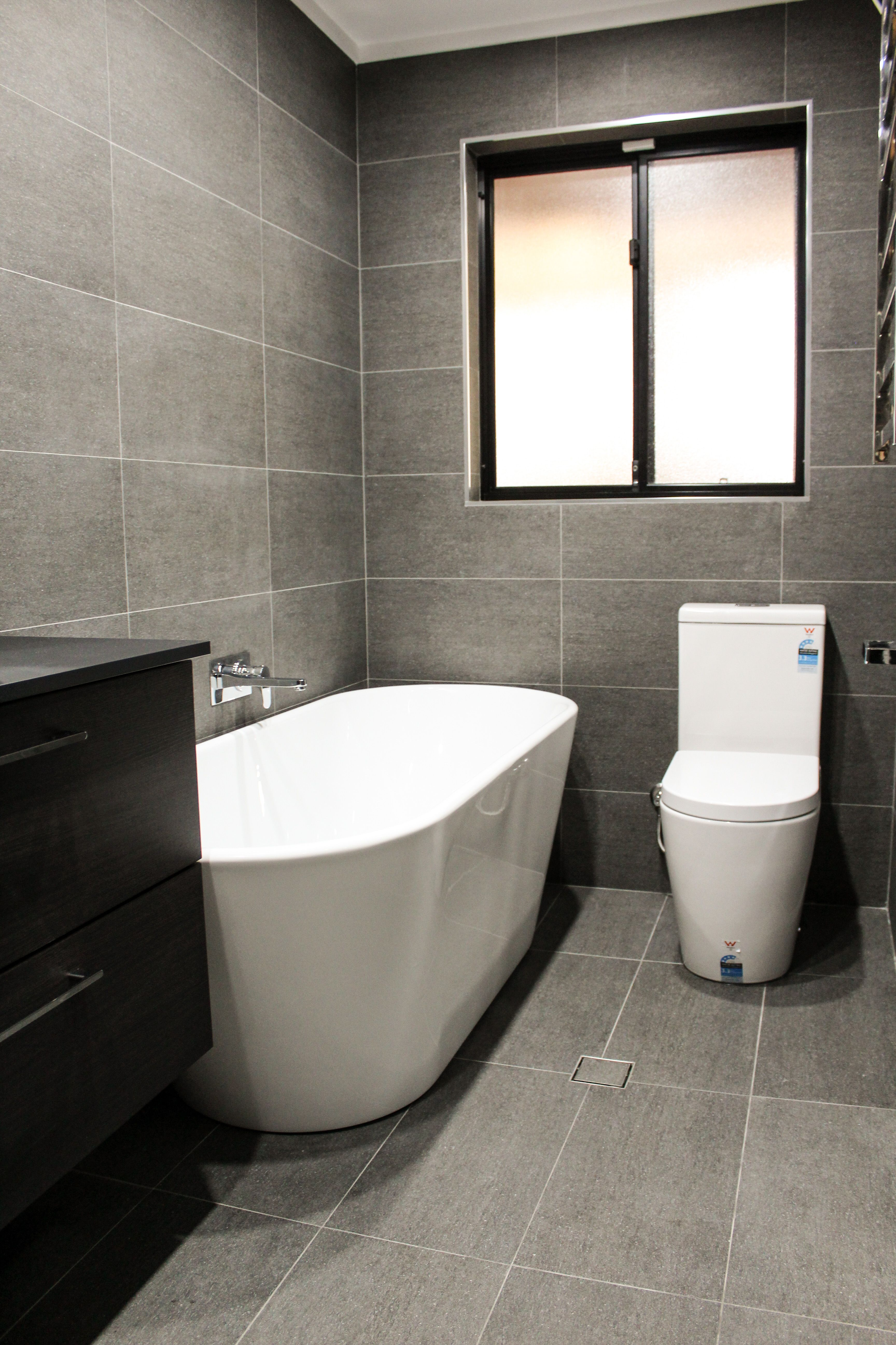 Grey Bathroom Freestanding Bath Dark Bathrooms On The Ball