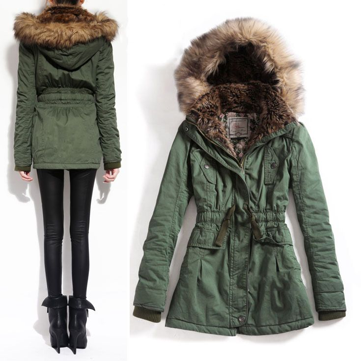 US$60.99] - Large Collar Long Army Green Coat : ThatsPoint.com ...