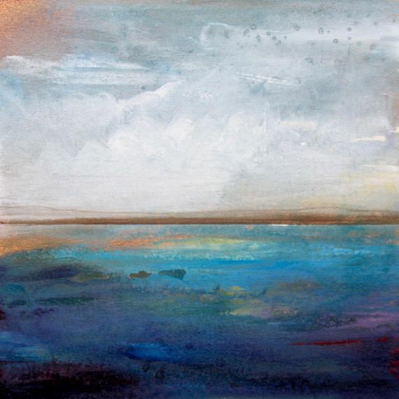 Abstract Seascape Painting On Canvas Ocean Coastal