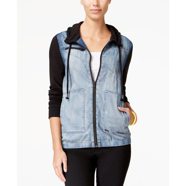 Volcom Juniors' Sea Enemy Contrast Knit-Trim Denim Jacket featuring polyvore women's fashion clothing outerwear jackets dark blue volcom jacket zip denim jacket dark blue jacket denim jacket blue jean jacket