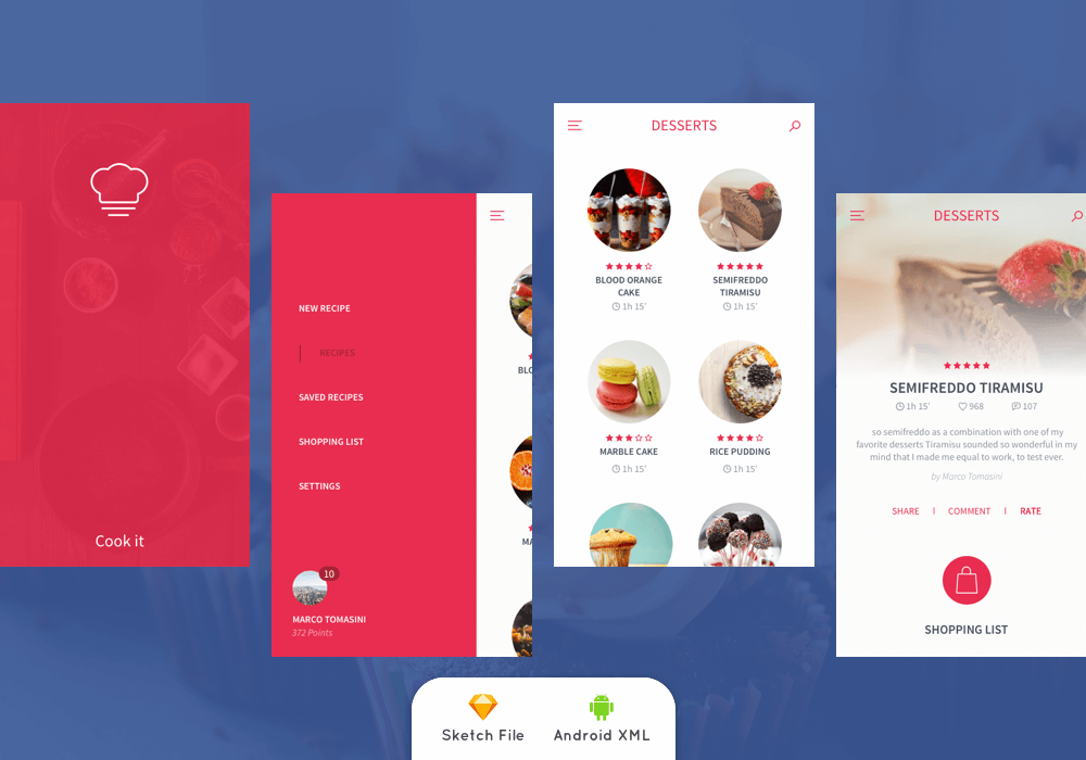 recipe app ui kit and android xml template ui ux free source in