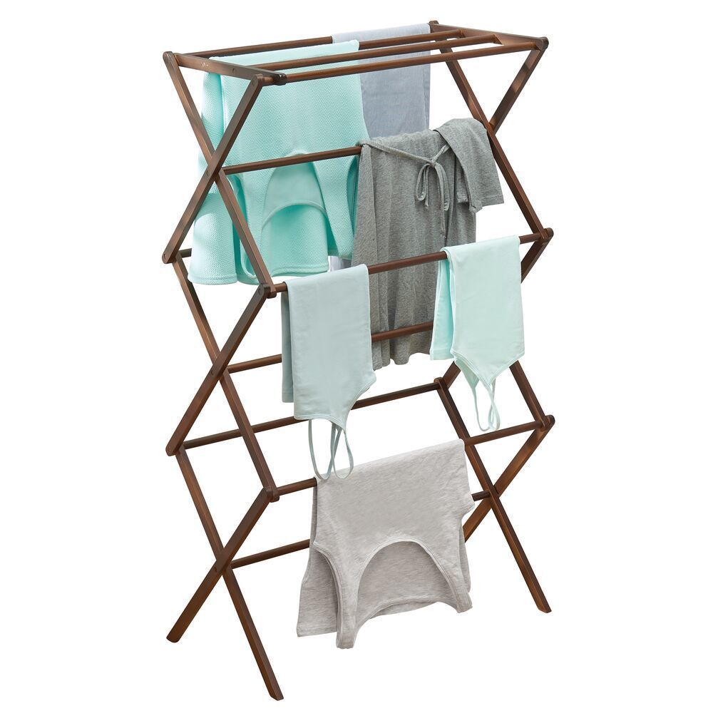 Tall Collapsible Laundry Clothes Storage Drying Rack in Espresso Brown, 16.5