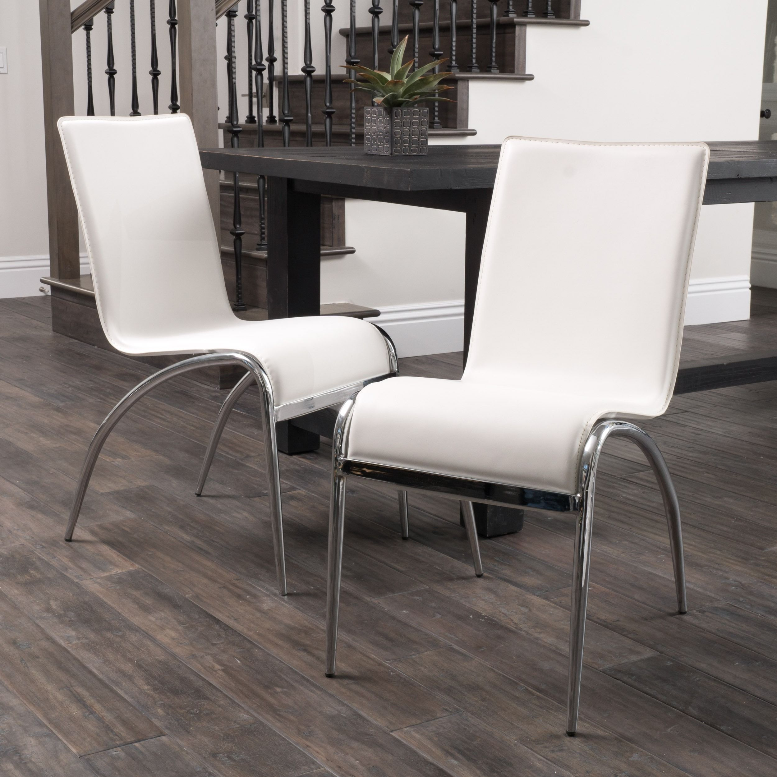 Modern White Dining Chair Set of 2 by Christopher Knight Home