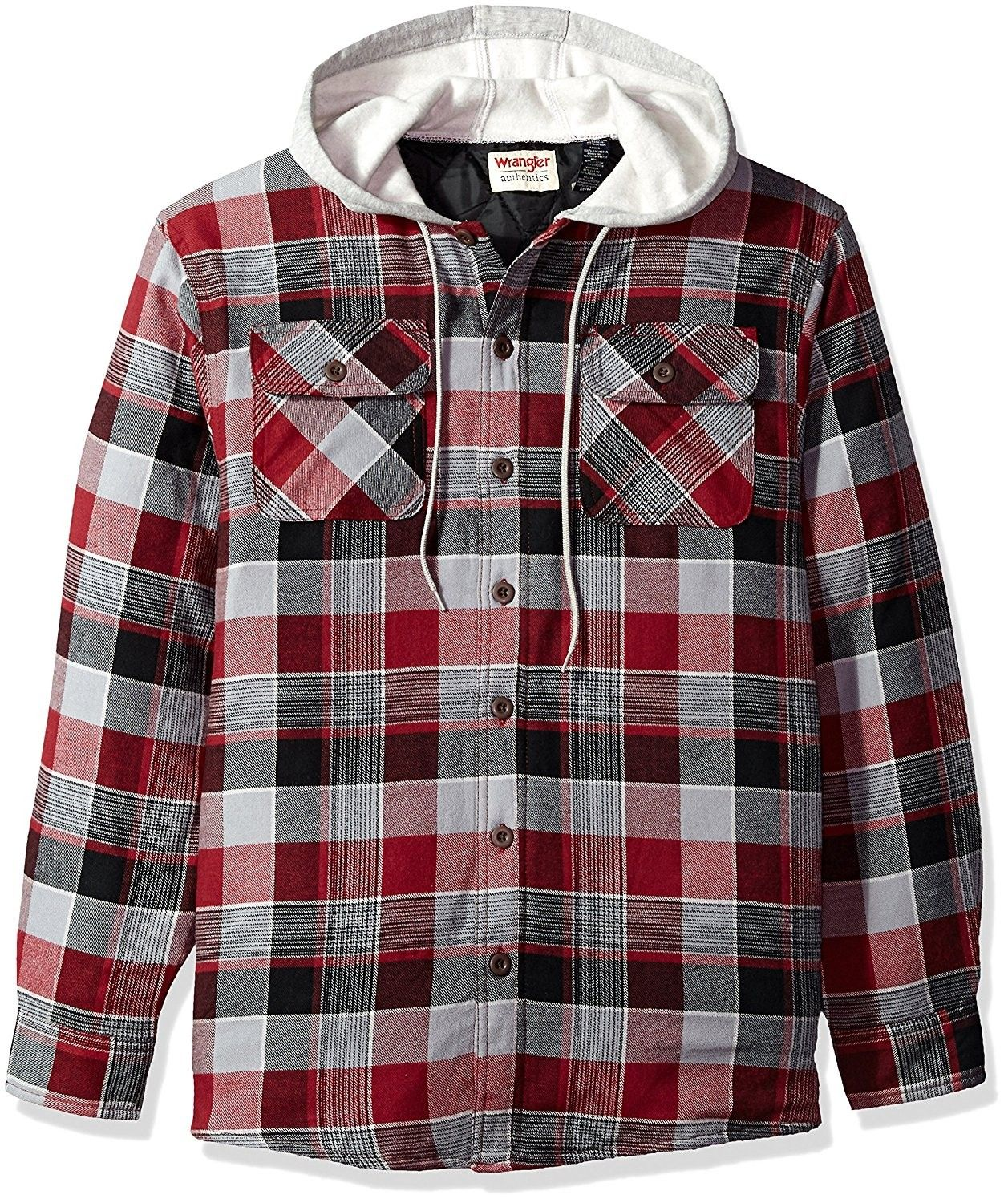 Men S Long Sleeve Quilted Lined Flannel Shirt Jacket With Hood Biking Red With Gray Hood Cw184kuc7y8 Lined Flannel Shirt Flannel Jacket Mens Flannel Shirt [ 1500 x 1257 Pixel ]