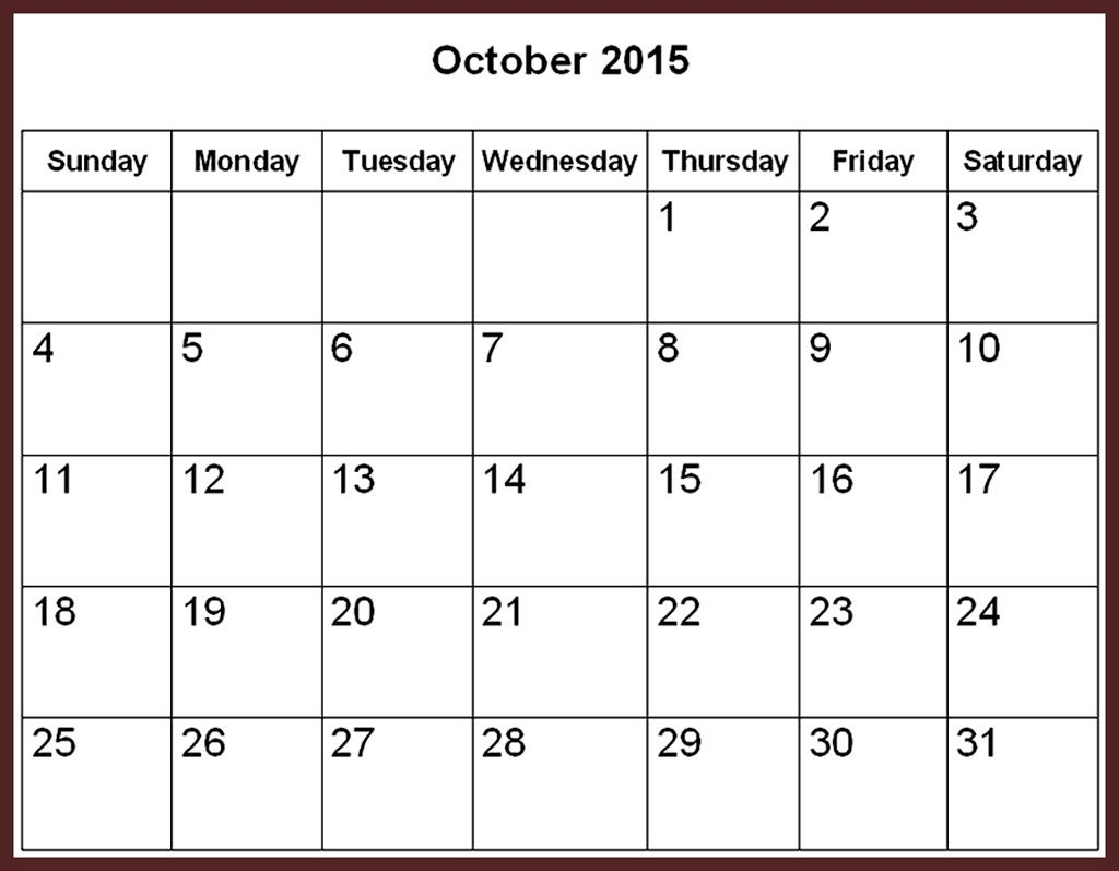 Free Download Oct 2015 Calendar Printable Pictures, Images ...