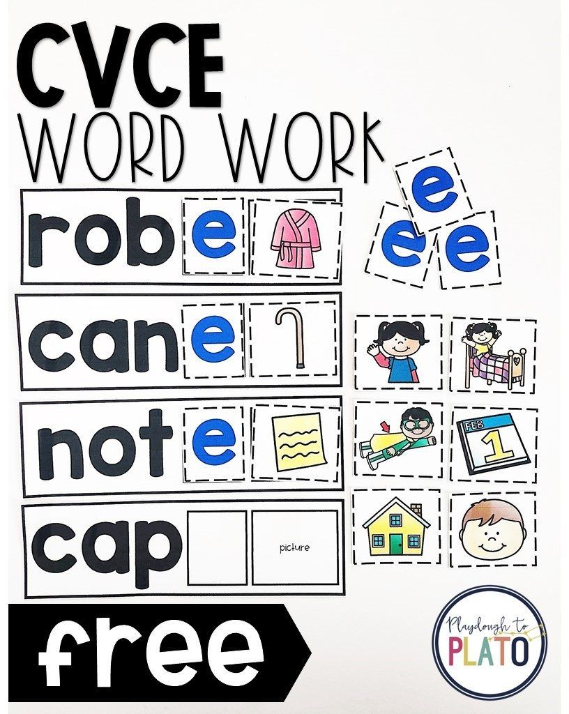 CVCe Word Work is part of Cvce word work, Cvce words, Word work, Word work centers, Kindergarten reading centers, Phonics kindergarten - Activity for ages 5 to 7  Are you looking for a helpful tool to teach students about the silent E once and for all  These colorful word work cards are a musttry! Scroll below to grab your freebie and then make sure to jump over and pick up our Magic E Kite Puzzles too  Getting …