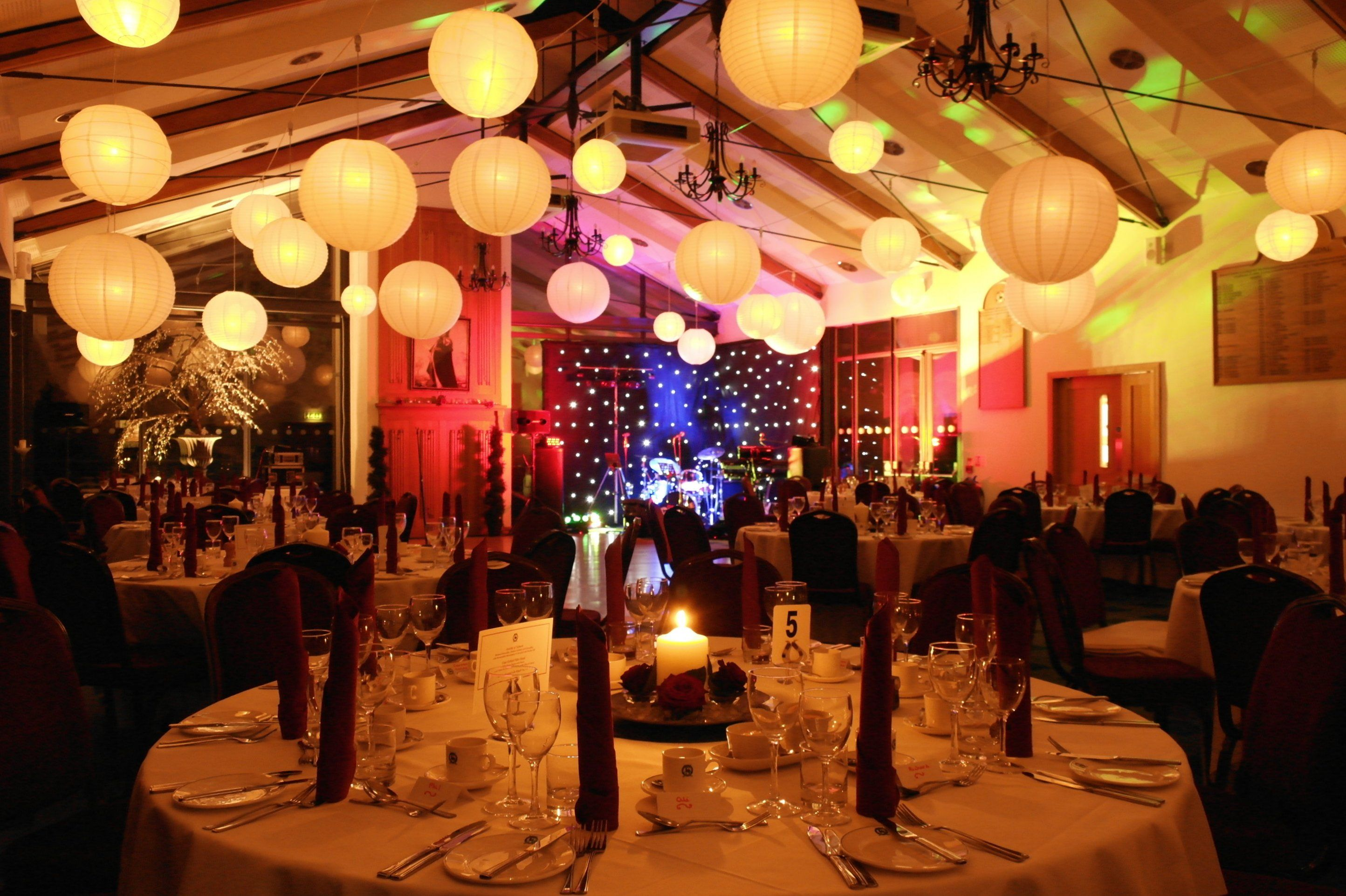 Starcloth backdrop and lighting for a dinner dance at the