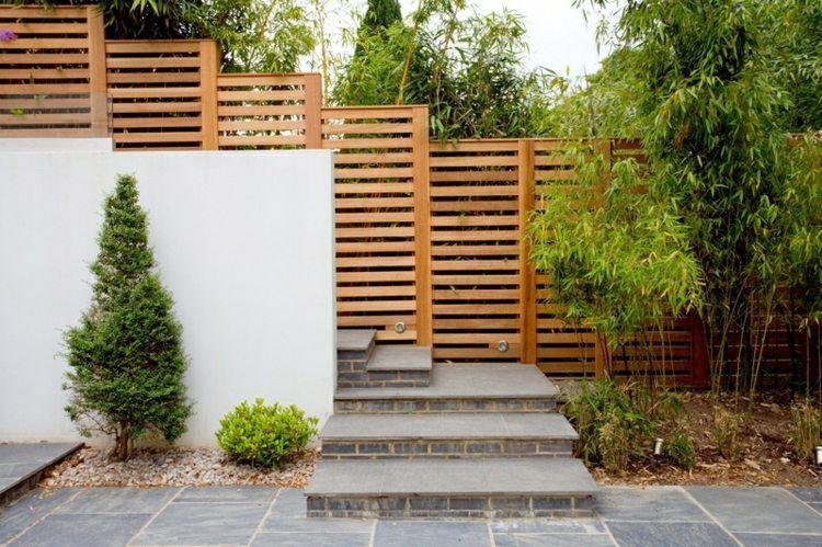 Sichtschutz Garten Selber Bauen Lattenzaun Betonmauer Eingangstreppe
