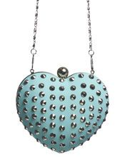 Studded clutch with detachable shoulder strap