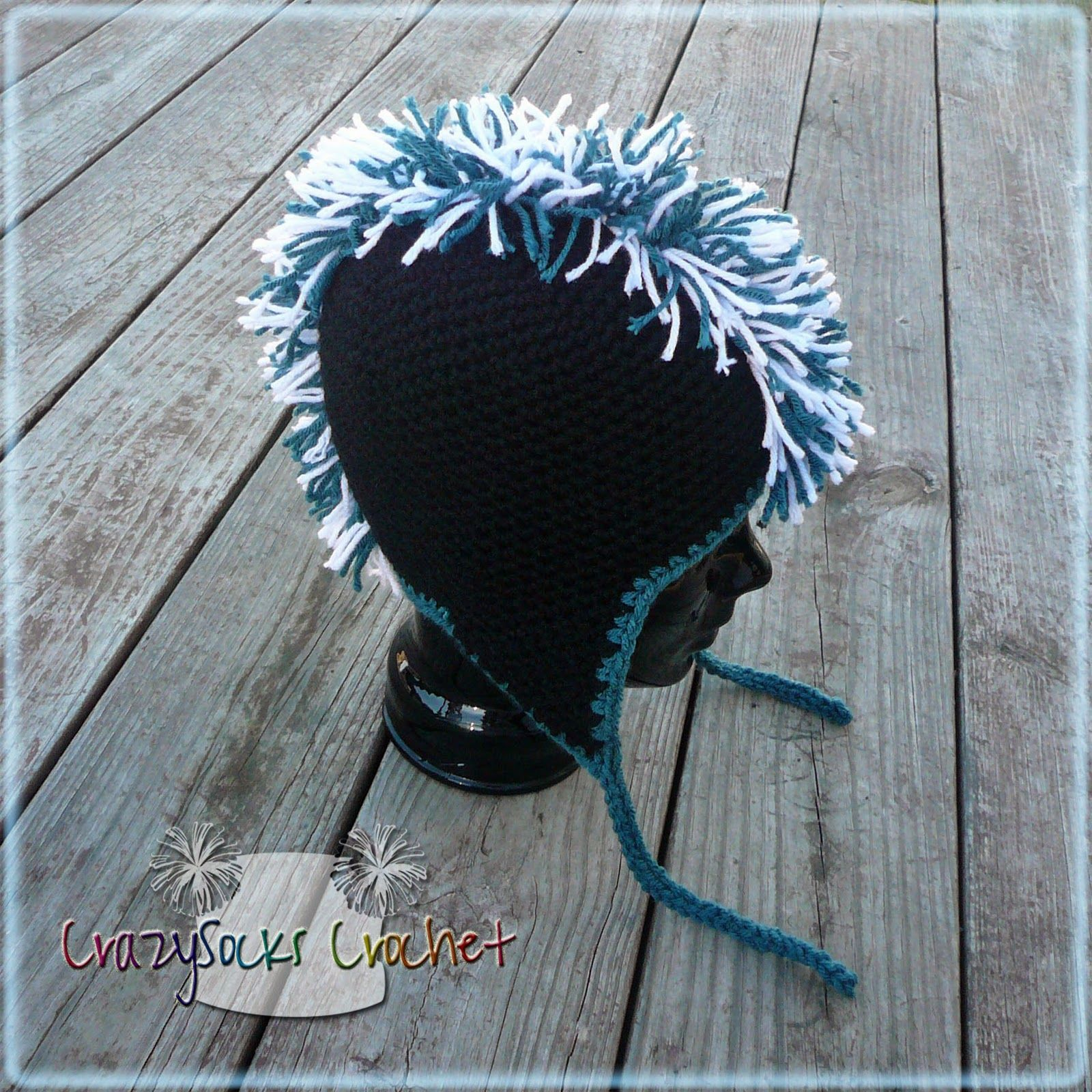 CrazySocks Crochet  Mohawk Hat TUTORIAL- how to add the mohawk fringe to  any base hat a8633626478