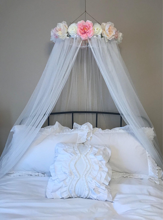 Custom Flower Canopy Bed Canopy Floral Canopy Reading Etsy In 2021 Girls Bed Canopy Bed Canopy Girl Bedroom Decor
