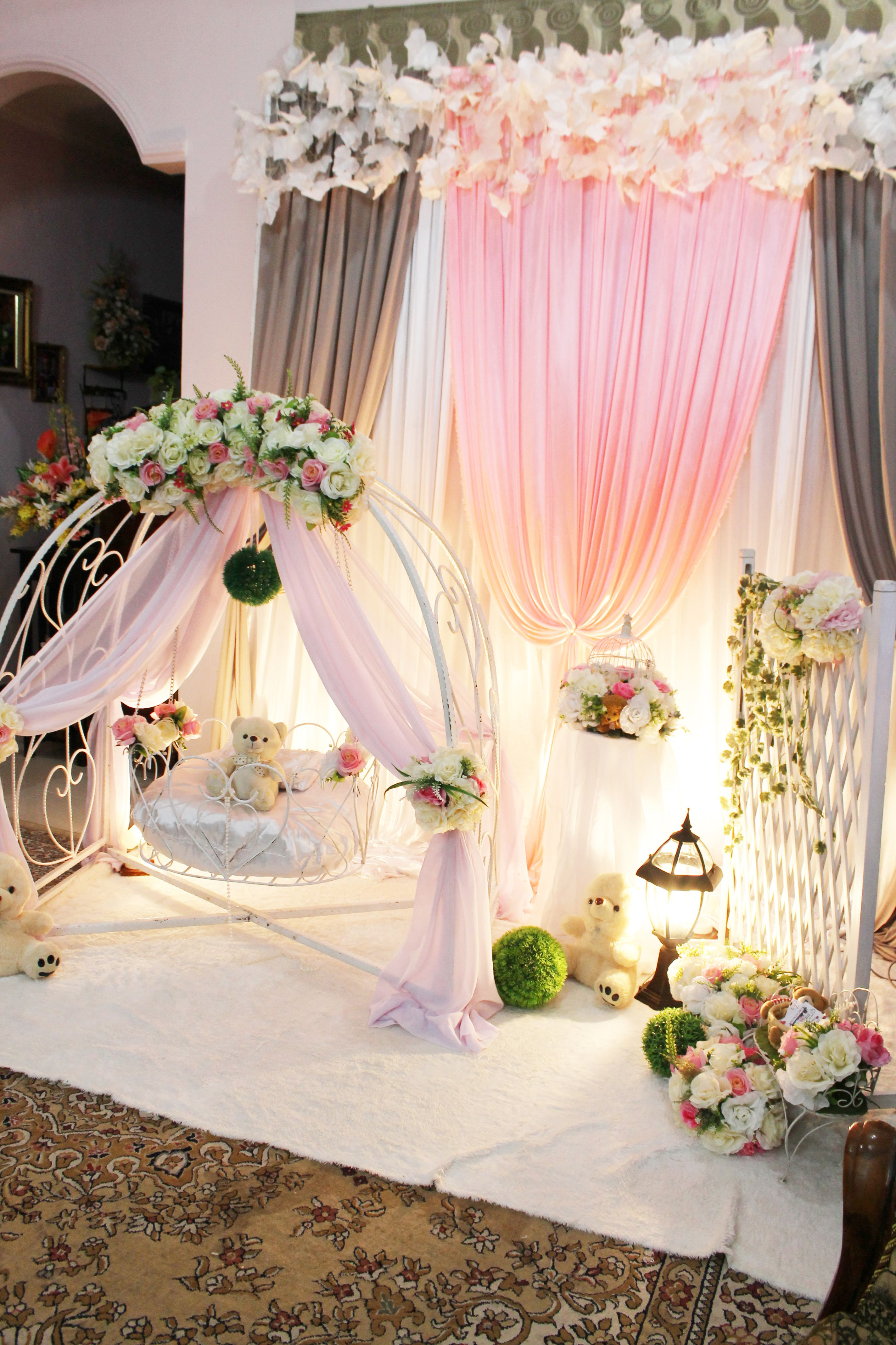 Decoration baby cradle for naming ceremony pelamin buaian for Baby full month decoration ideas