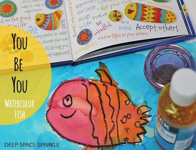You Be You watercolor fish art project (liquid watercolors + oil pastels)