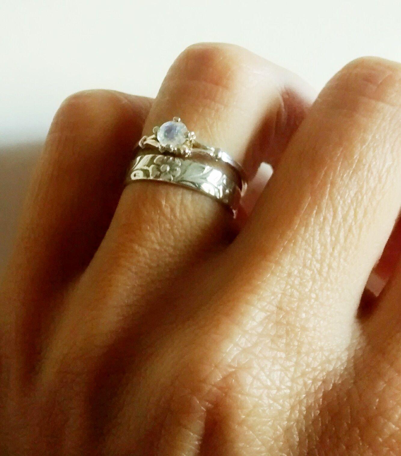 moonstone wedding band Faceted moonstone ring wedding band Gorgeous