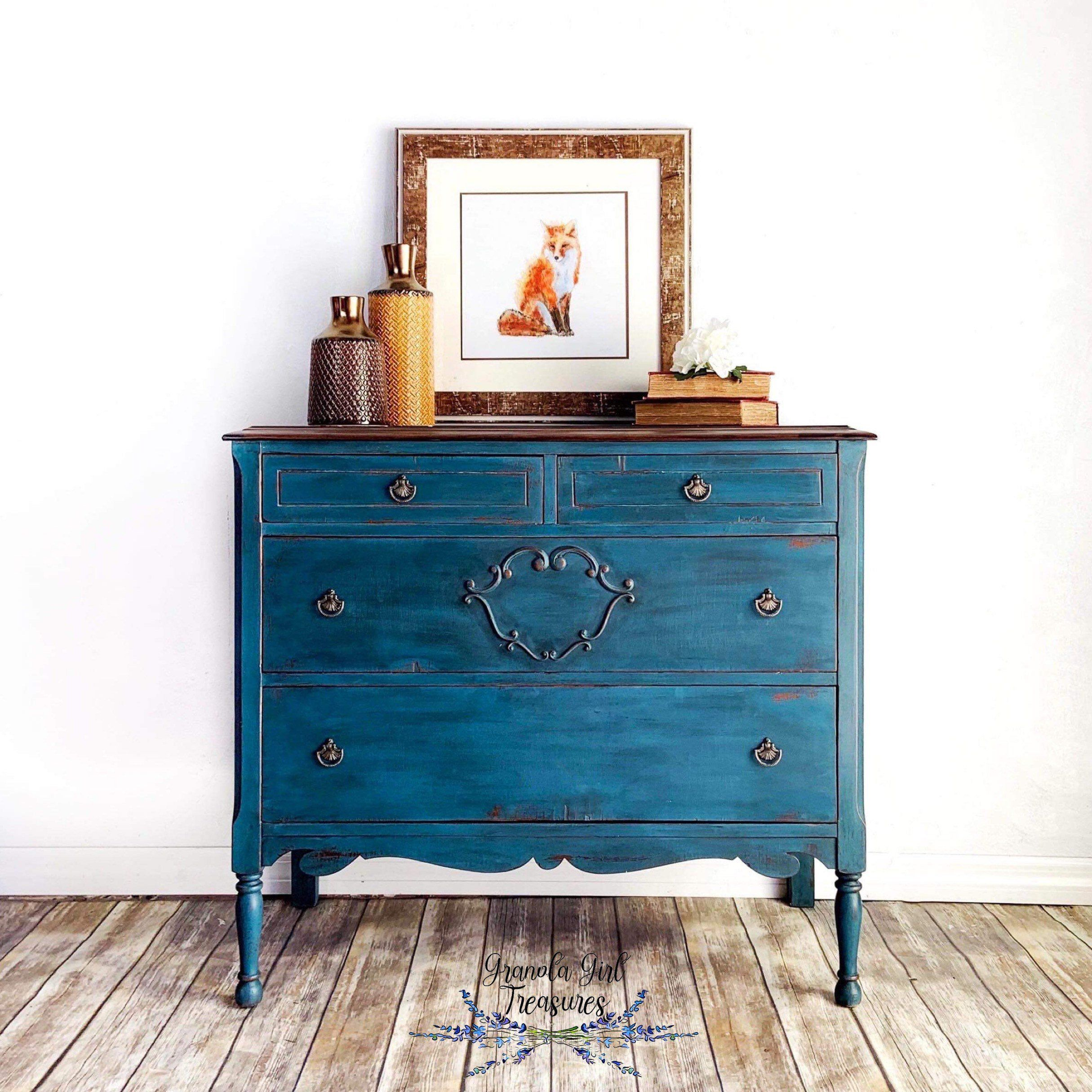 Excited To Share The Latest Addition To My Etsy Shop Sold Sold Custom Vintage Blue Dresser Blue Dresser Blue Distressed Furniture Teal Painted Furniture [ 2430 x 2430 Pixel ]