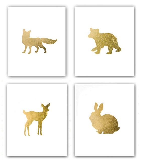 SALE Set of 4 Woodland Animal Prints - Bear Sly Fox Bunny Fawn Silhouettes Nursery Art Childs Room in Metallic Gold Leaf 8x10 prints, Minneapolis