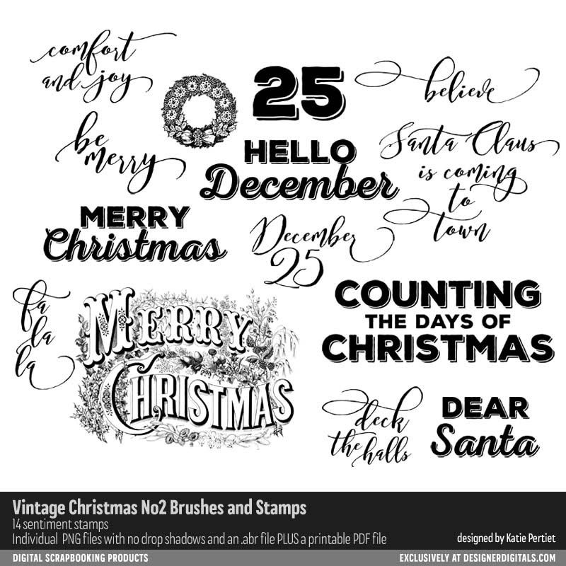 Vintage Christmas No. 02 Brushes and Stamps- Katie Pertiet